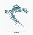 Doodle sketch of Croatia map vector image vector image
