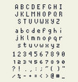 pixel font alphabet letters and numbers retro vector image