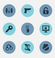 Set of simple protection icons vector image
