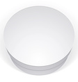 Realistic white round package box for products put vector image