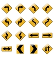 Set of yellow road traffic signs vector image