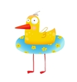 Kids Humorous Yellow Duck with Swimming Circle vector image
