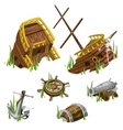 Fragments and parts of a pirate ship isolated vector image