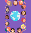 children heads and hands around earth planet vector image