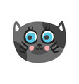 cute grey cat head with beautiful blue eyes funny vector image