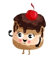 Funny cake with cherry isolated cartoon character vector image