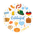 oktoberfest icon set in round shape flat or vector image