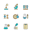 Set color line icons of medical analysis vector image