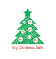big christmas sale with scribble fir tree vector image