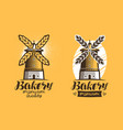 bakery bread pastry logo or label mill vector image