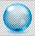 Transparent blue glass sphere with scratches vector image