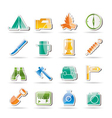 tourism and hiking icons vector image vector image