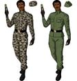 African male in green khaki holds taser vector image vector image