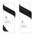 Two elegant vertical white banner with black silk vector image