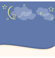 Night background with owl moon and stars vector image