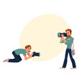set of cartoon photographers at work vector image
