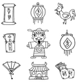 Hand draw of Chinese celebration element doodles vector image