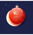 Red Christmas ball greeting card vector image