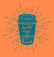 Hand Drawn Coffee Cup with vintage sun burst vector image