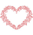 Embroidery inspired heart shape in white with vector image