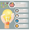 hand hold bulb polygon infographic for financial vector image