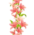 vertical seamless pattern with lilies vector image