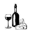 wine bottle glass and vector image