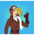 hand drawn pop art style of retro woman pilot vector image