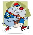 Grey Bulldog Football Player Running vector image