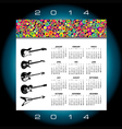 2014 Music Guitar Calendar vector image