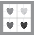 Black and white heart set vector image
