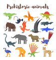 colorful prehistoric dinosaurs and animals vector image