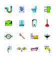 sanitary engineering comics icons set cartoon vector image