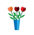 Tulip vase on white background flat vector image