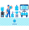 water delivery service man character in uniform vector image