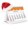 August 2015 desk calendar with Christmas hat vector image vector image