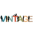 Vintage background with women silhouettes vector image
