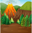 Nature scene with volcano eruption vector image vector image