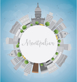 Montpelier Vermont city skyline with grey building vector image