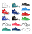 Black outlined colored sneakers shoes set vector image vector image