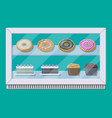 bakery shop vitrine freezer with cakes and pastry vector image