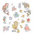 mermaids cartoon characters with cute sea animals vector image
