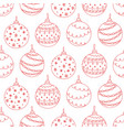 seamless pattern of red christmas tree ball toy vector image