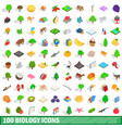 100 biology icons set isometric 3d style vector image
