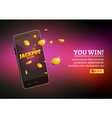 Jackpot money smart phone coins big win Big income vector image