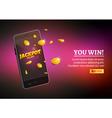 Jackpot money smart phone coins big win Big income vector image