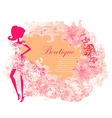 Abstract Beautiful floral Woman silhouette card vector image