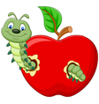 caterpillars eat the apple vector image vector image