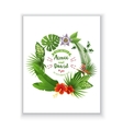 Save the date card with tropical wreath vector image
