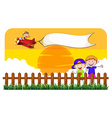 Children behind the fence and airplane vector image vector image